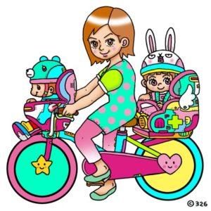 子ども乗せ自転車事故ゼロを目指し描いてくださった326さんのロゴ